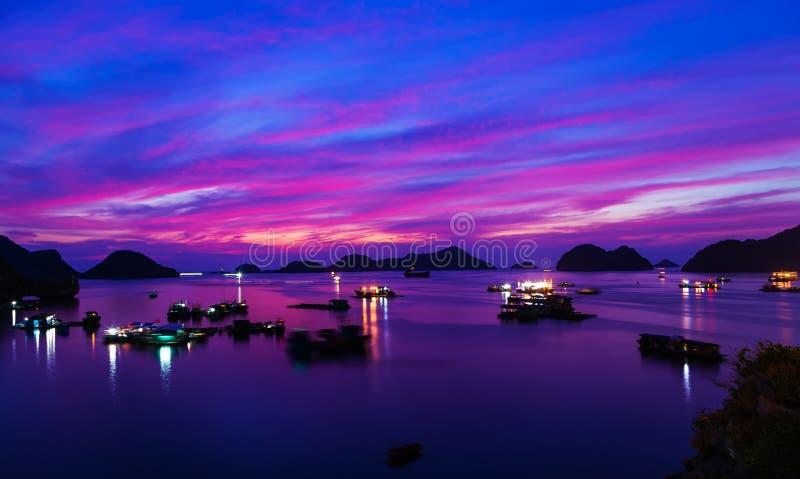 Залив Ha горного вида моря длинный, остров ба кота, Вьетнам стоковые фото