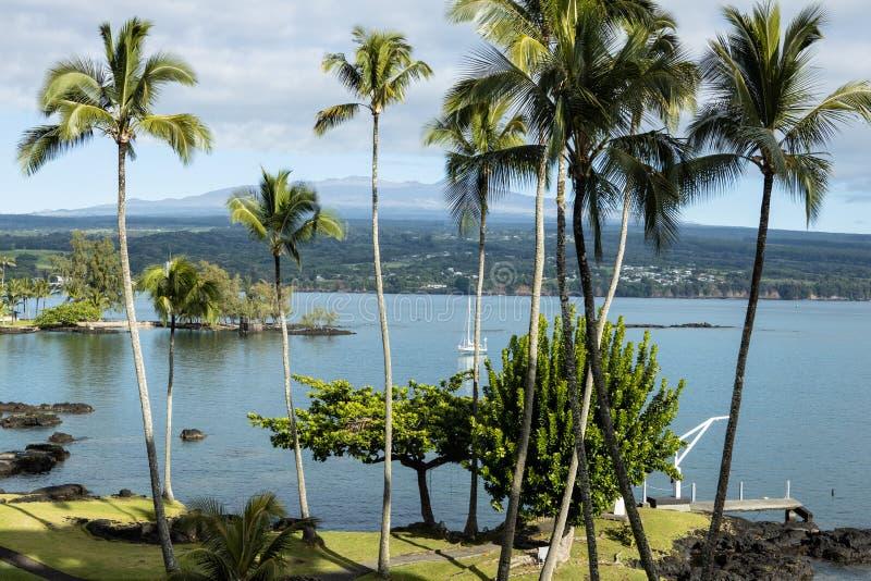 Залив Hilo от курортного отеля стоковое изображение