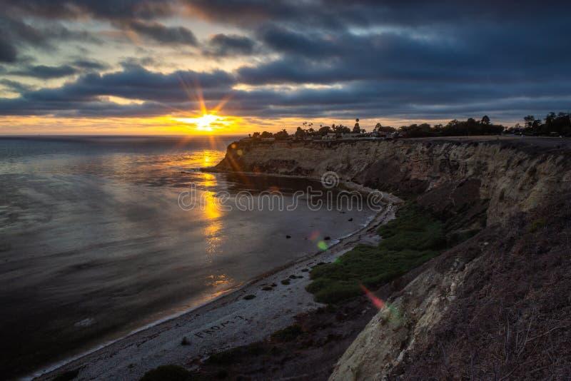 Залив Lunada на заходе солнца стоковое фото rf
