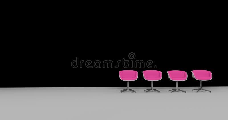 Зал ожидания или этап стулья 3d черных и пурпура представляют бесплатная иллюстрация