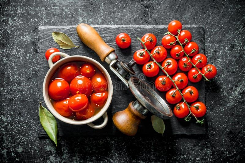 Замаринованные томаты в шаре и ветви свежих томатов стоковые фото