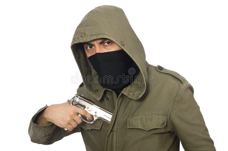 Замаскированный человек в уголовной концепции на белизне стоковые изображения
