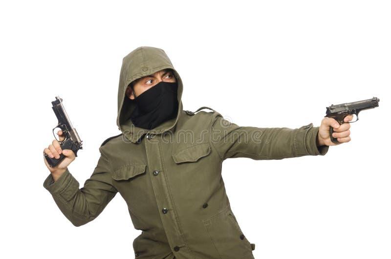 Замаскированный человек в уголовной концепции на белизне стоковое фото