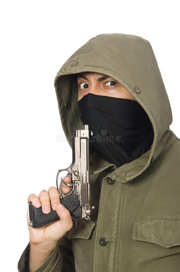 Замаскированный человек в уголовной концепции на белизне стоковая фотография rf