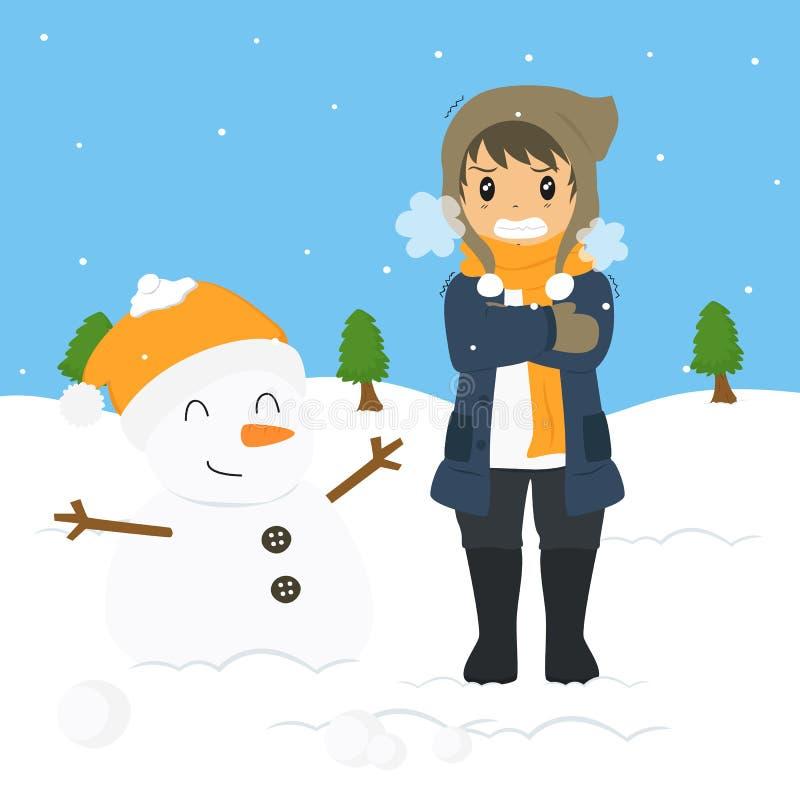 Замерзая мальчик на холоде зимы, векторе шаржа иллюстрация вектора
