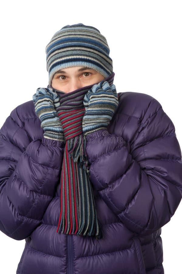 замерзая человек стоковое фото rf