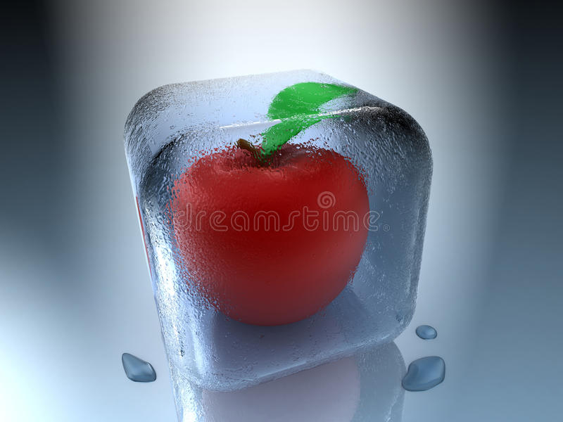 замерли яблоко, котор Стоковые Фотографии RF