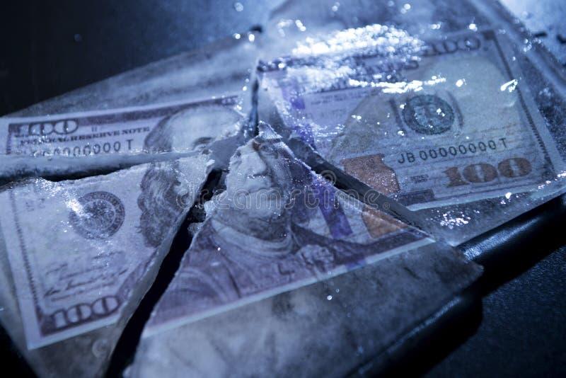 Замерли доллар, который стоковое изображение