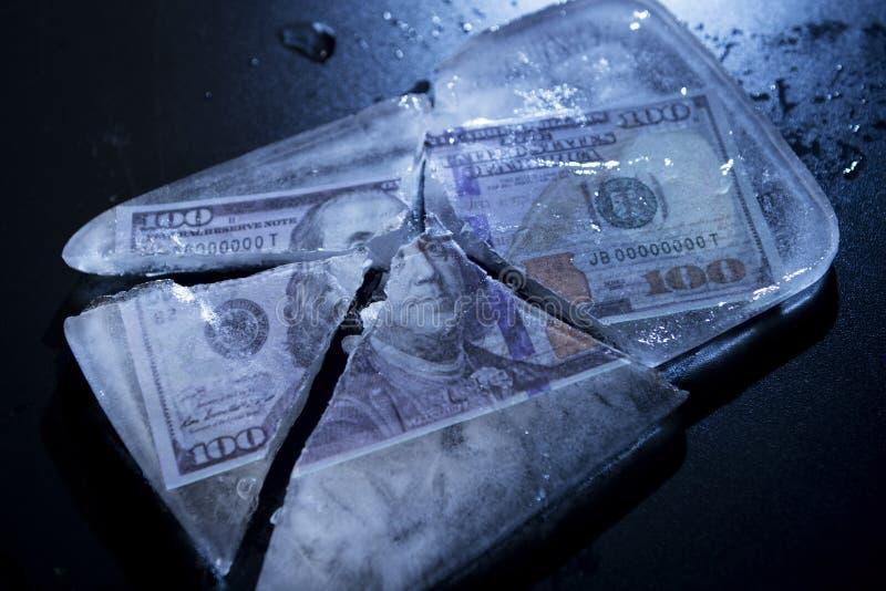 Замерли доллар, который стоковая фотография rf