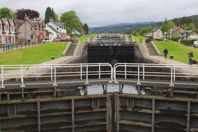 Замки лестницы на шотландском канале стоковое изображение