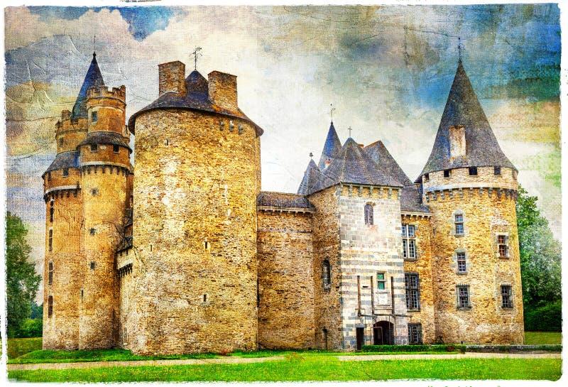 замки Франции, художнического изображения стоковое фото