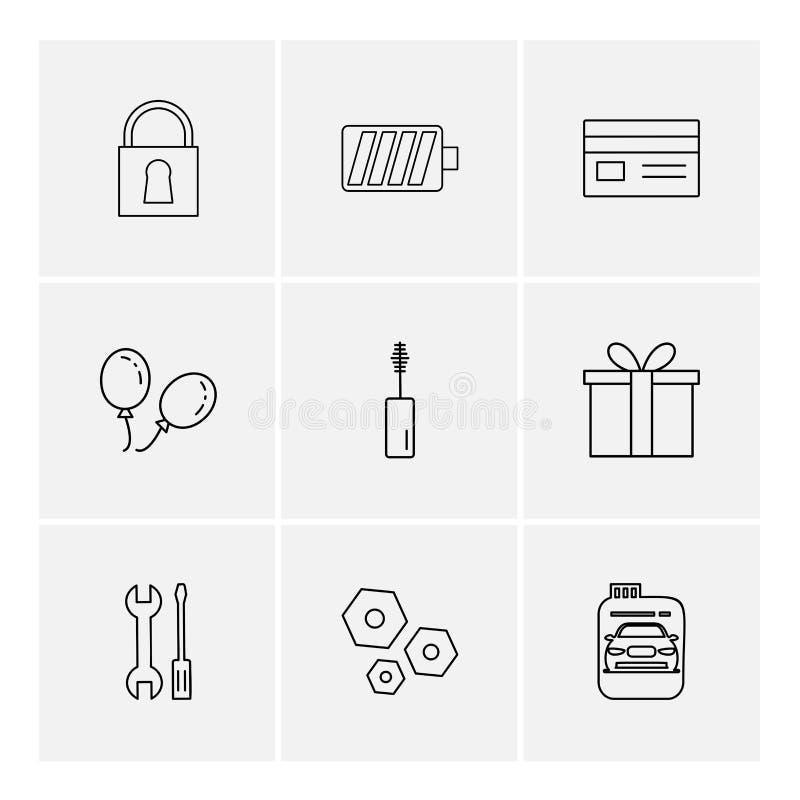 замок, батарея, карточка, giftbox, автомобиль, maskara, гайка, болт, scr иллюстрация вектора