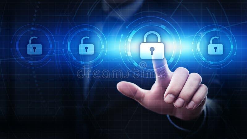 Замок безопасностью кибер на концепции уединения технологии дела защиты данных экрана цифров стоковые изображения rf