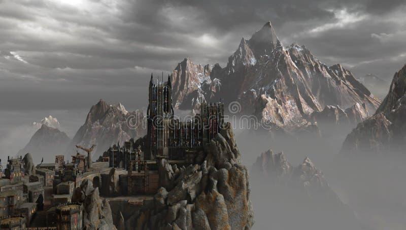 Замок в горах иллюстрация вектора