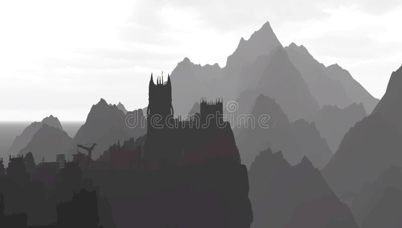 Замок в горах в серой шкале иллюстрация вектора