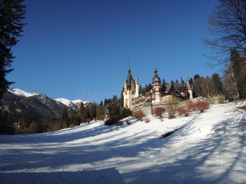 Замок в зиме, Румыния Peles сказки стоковые изображения rf
