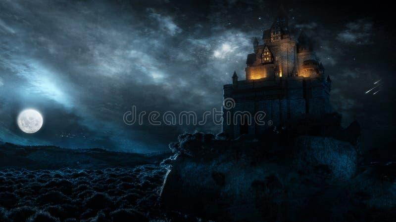 Замок в ноче иллюстрация вектора