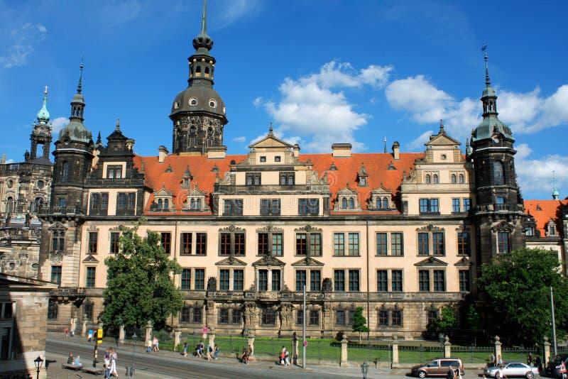 Замок Дрездена или королевский дворец к ноча, Саксония, Германия стоковое фото rf