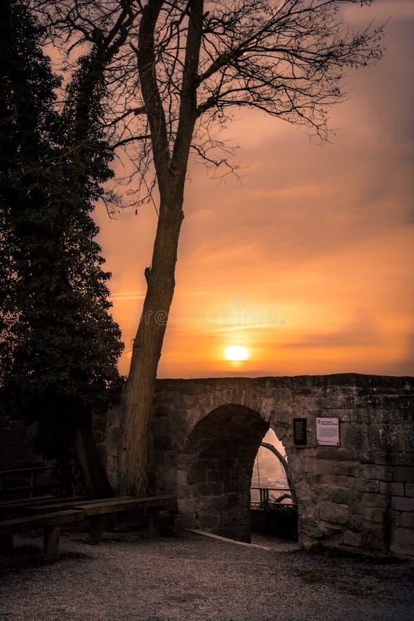 Замок захода солнца стоковое изображение