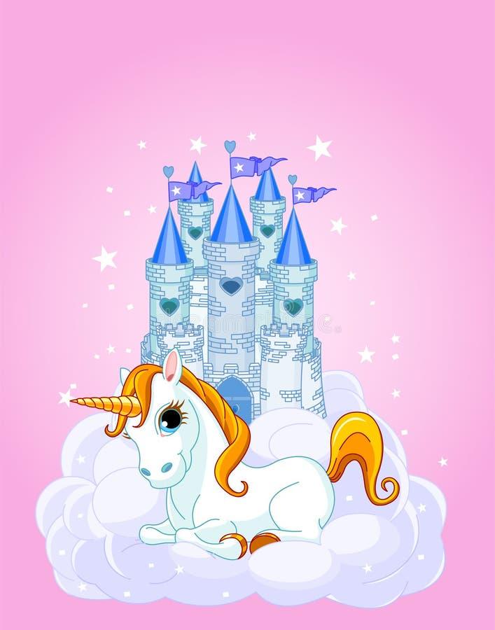 Замок и единорог иллюстрация вектора