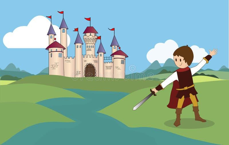Замок и рыцарь сказки иллюстрация вектора