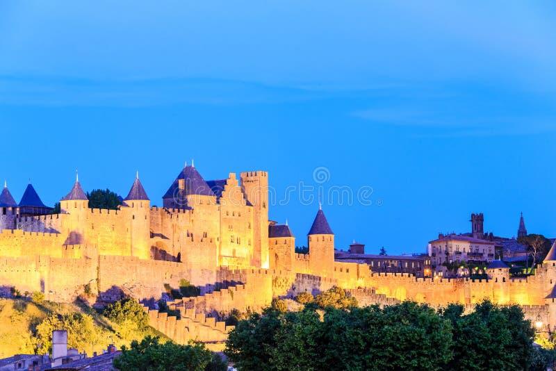 Замок Каркассона, Лангедок-Русильона стоковая фотография rf