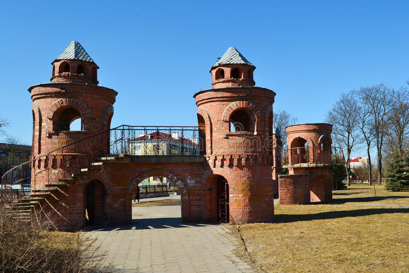 Замок красных детей в Pinsk стоковые изображения rf