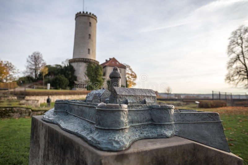 Замок миниатюрный модельный Билефельд Германия Sparrenburg стоковое фото