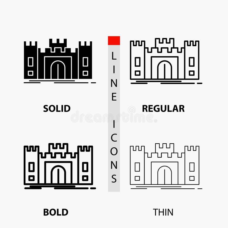 Замок, оборона, форт, крепость, значок ориентира в тонких, регулярных, смелых линии и стиле глифа r иллюстрация вектора