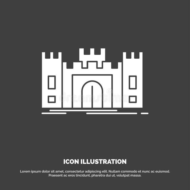 Замок, оборона, форт, крепость, значок ориентира r иллюстрация штока