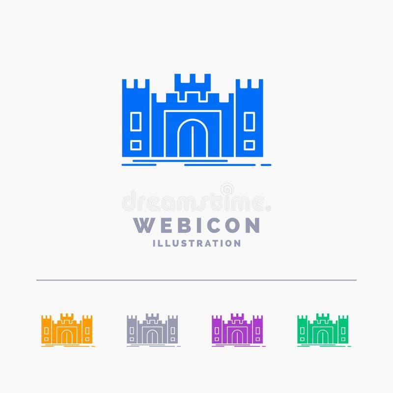 Замок, оборона, форт, крепость, шаблон значка сети глифа цвета ориентира 5 изолированный на белизне r бесплатная иллюстрация
