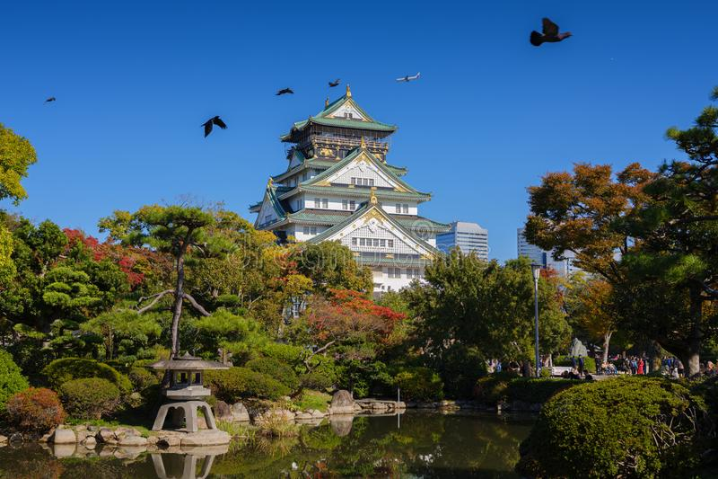 Замок Осака в Японии осенью стоковые изображения rf