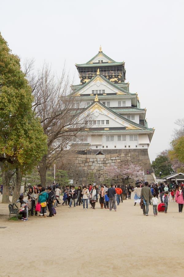замок Осака сезона вишневого цвета стоковое изображение