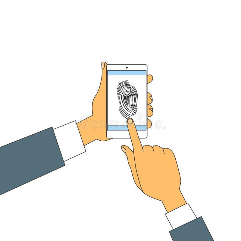 Замок доступа телефона отпечатка пальцев умный, безопасность развертки рук отпечатка пальцев экрана касания бизнесмена иллюстрация штока