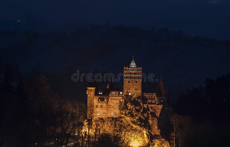 Замок отрубей ночи стоковые фотографии rf