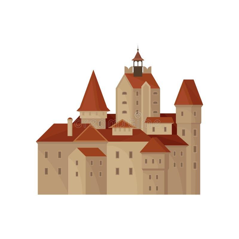 Замок отрубей Трансильвании s или резиденция отсчета Дракула Известный ориентир ориентир в Румынии строить исторический старо иллюстрация вектора
