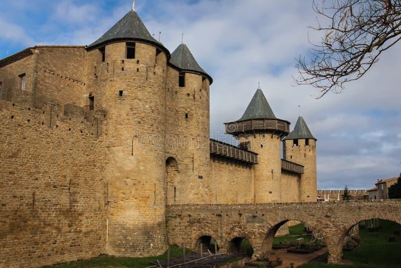 Замок отсчетов Каркассон Франция стоковое фото rf