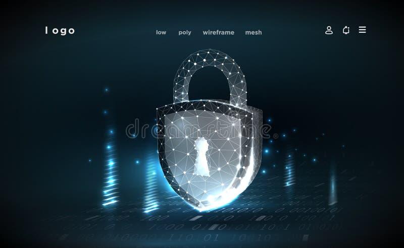 Замок Полигональное wireframe Концепция безопасностью кибер, безопасность данных кибер или уединение информации Абстрактная техно иллюстрация штока