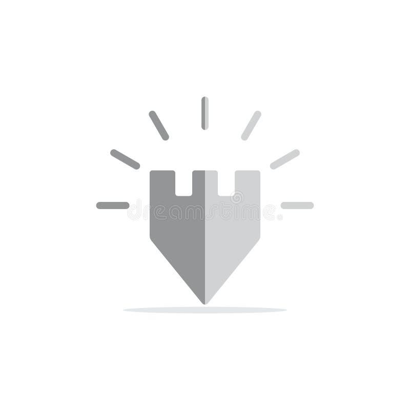 Замок посветить простому вектору логотипа положения штыря иллюстрация штока