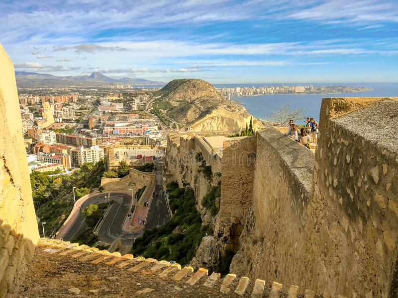 Замок Санта-Барбара в Аликанте - Испании стоковое фото rf