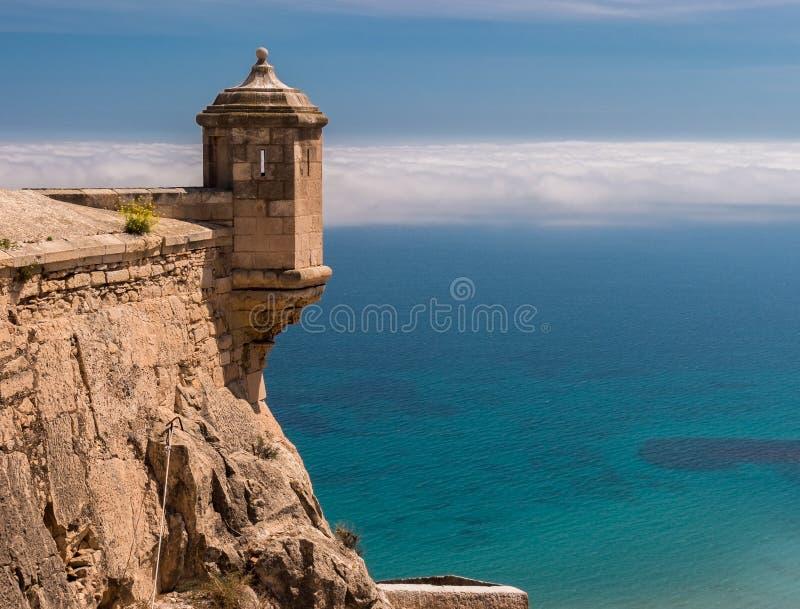Замок Санта-Барбара в Аликанте, Испании стоковое изображение rf