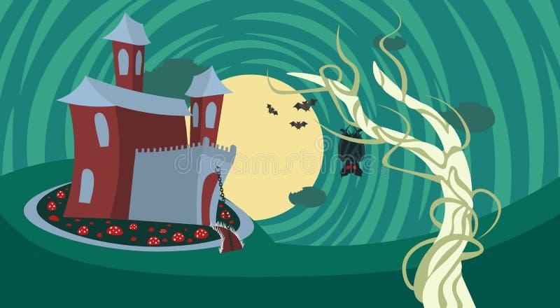 Замок силуэта с призраками в фокусе знамени хеллоуина страшных теней лунного света счастливых или празднике концепции обслуживани иллюстрация штока