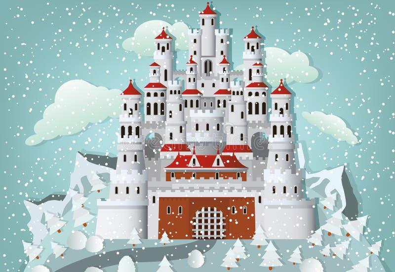 Замок сказки в зиме бесплатная иллюстрация