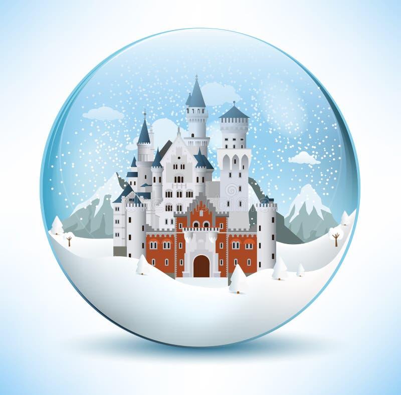 Замок сказки в стеклянной сфере иллюстрация вектора