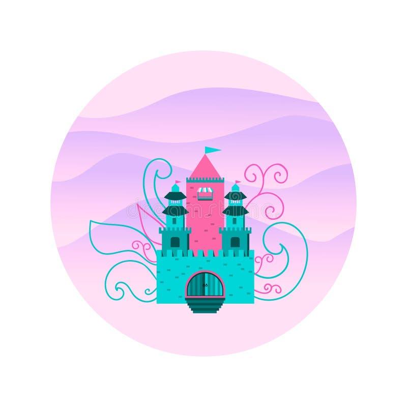 Замок сказки на предпосылке холмов в круге иллюстрация вектора