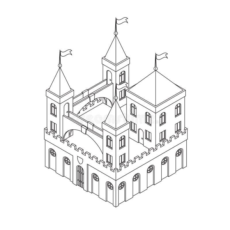 Замок сказки средневековый изолированный на белой предпосылке Сделанный в стиле линии искусства иллюстрация штока