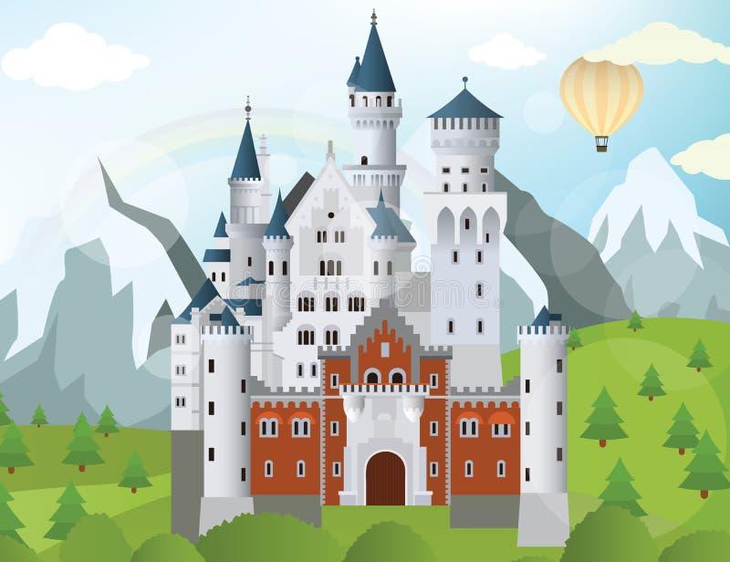 Замок сказки иллюстрация штока