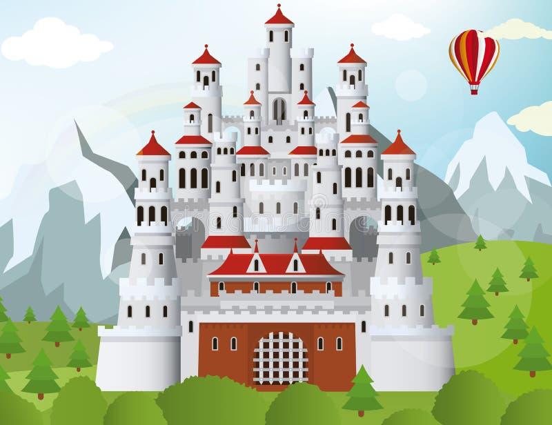 Замок сказки иллюстрация вектора
