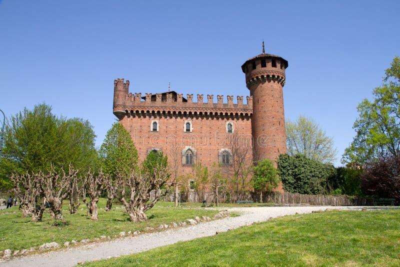 Замок средневекового городка, Турин, Италия стоковое изображение rf