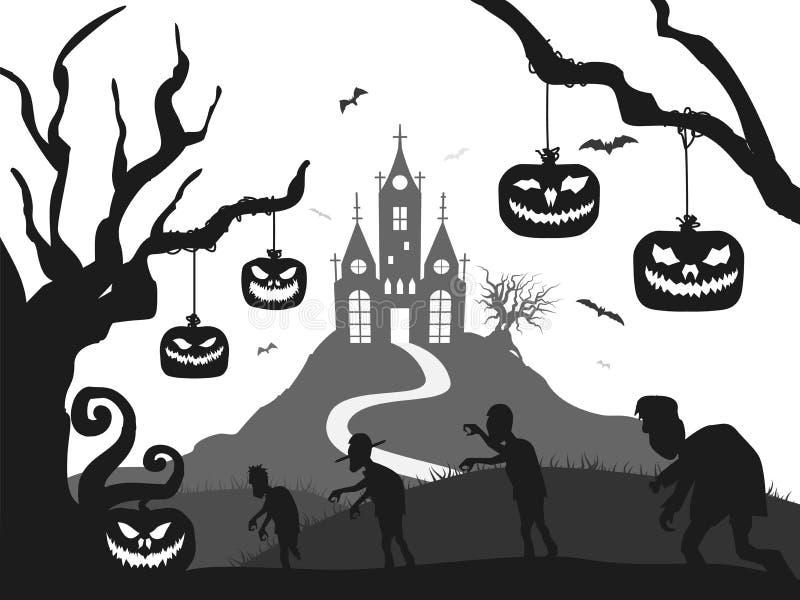 Замок, тыква, зомби, дерево, силуэт хеллоуина летучей мыши черно-белый бесплатная иллюстрация